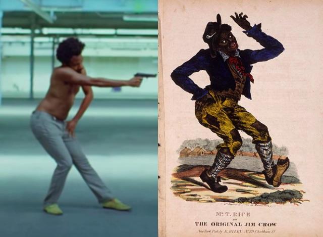 Childish Gambino neemt dezelfde pose aan als Jim Crow in This Is America - Nolala