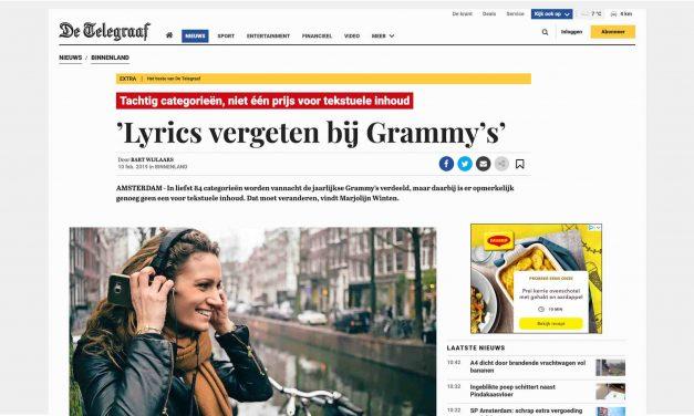 De Telegraaf features Nolala's Grammy campaign